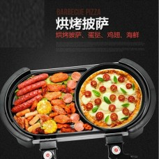 2 in 1 Electric bbq pan grill & steamboat with 2 temperature control