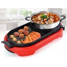 2 in 1 BBQ Korean Electronic Pan Grill & Steamboat & Teppanyaki Combination