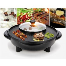2 in 1 smokeless non stick pan grill bbq & hot pot
